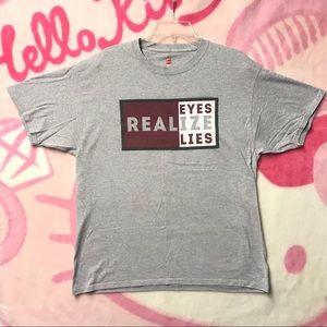 Tops - Real Eyes Realize Real Lies Gray Shirt Large